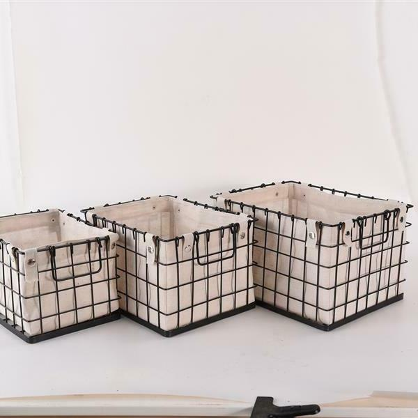 Storage Lined Brushed Wire Organizer Bin Box 3-Pack