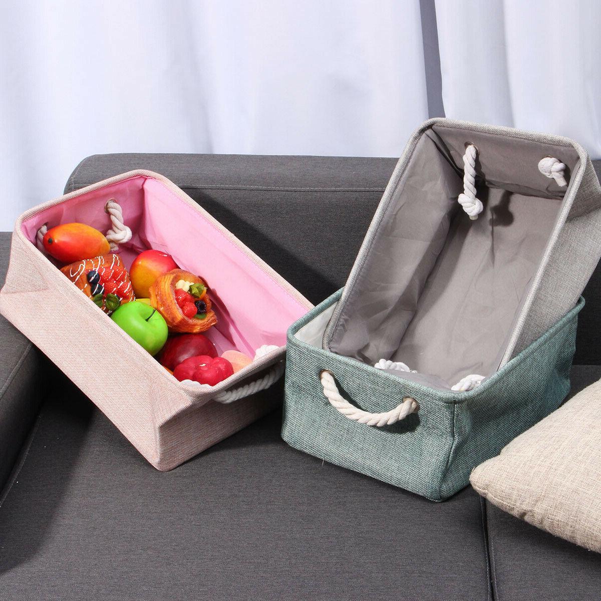 Storage Bin Basket Box Linen Fabric Organizer Drawer Container