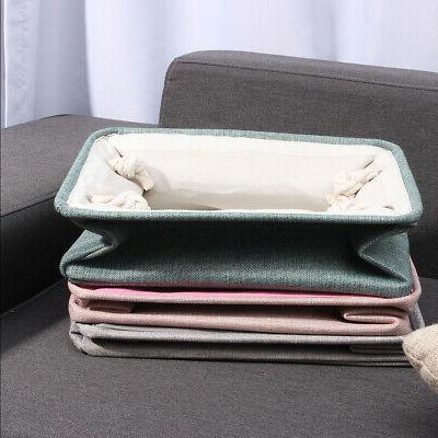Storage Bin Basket Linen Fabric Organizer Drawer Container Household