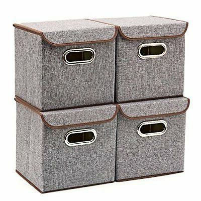 EZOWare Storage Linen Fabric Foldable Basket Organizer Boxes