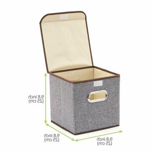 storage bins 4 pack linen fabric foldable