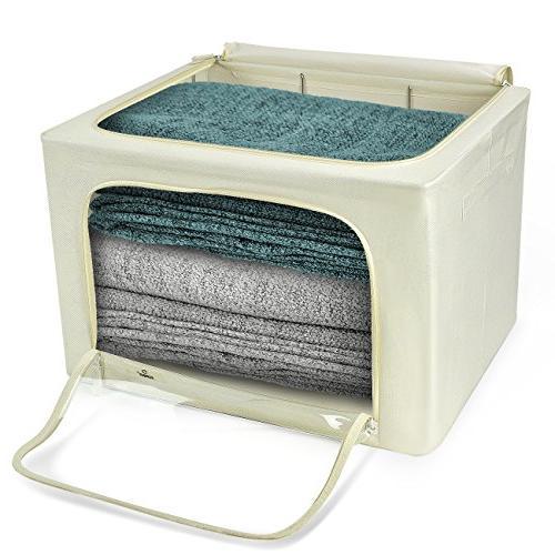 Sorbus Storage Bins Boxes, Foldable Basket Set Large Clear Handles, Linen, Clothes