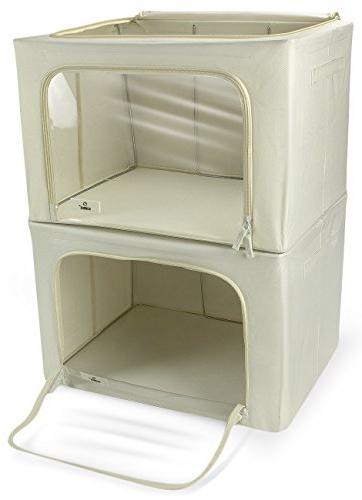 Sorbus Boxes, Foldable Stackable Basket Clear & Carry Handles, Linen, Clothes