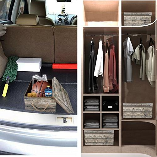Livememory Stackable Storage with and Bedroom, Toys-Wood Grain