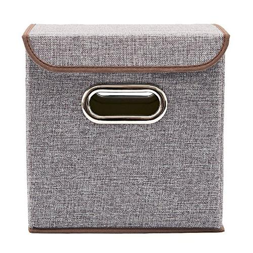 Storage Bins Linen Fabric Foldable Organizer Boxes Containers with For Nursery Shelf