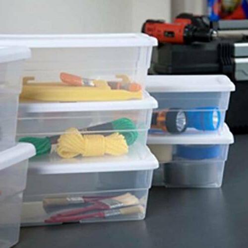 Sterilite Storage Box 6 Stacks White 4-Pack