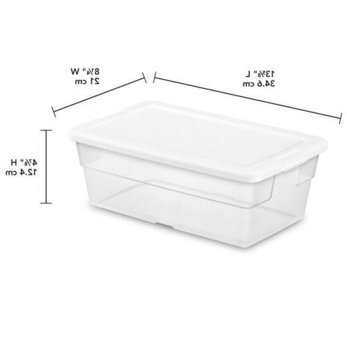 Sterilite Storage 1642 6 Quart White Lid Clear 4-Pack