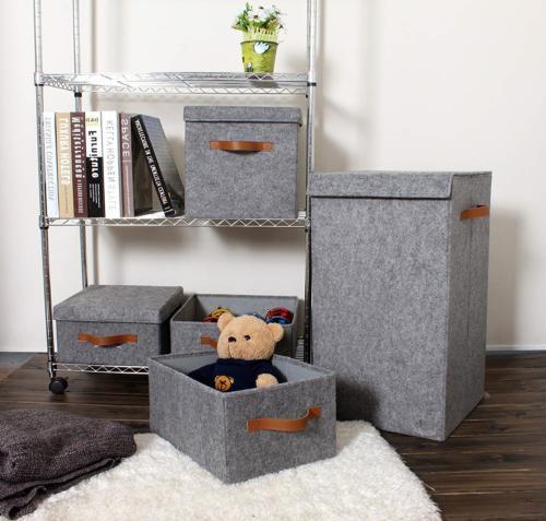 ITIDY Storage-Box, 2pk Soft Felt Bins Lids, Storage