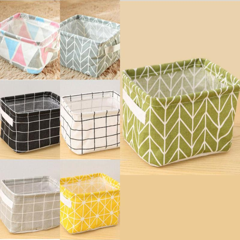 Foldable Fabric Closet Storage Box Bin Cube Cotton Linen Org