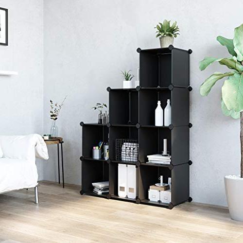 SONGMICS 9-Cube Closet Storage DIY Plastic Cabinet, Modular Bookcase, for Bedroom, Living Room, Office, Black ULPC33B