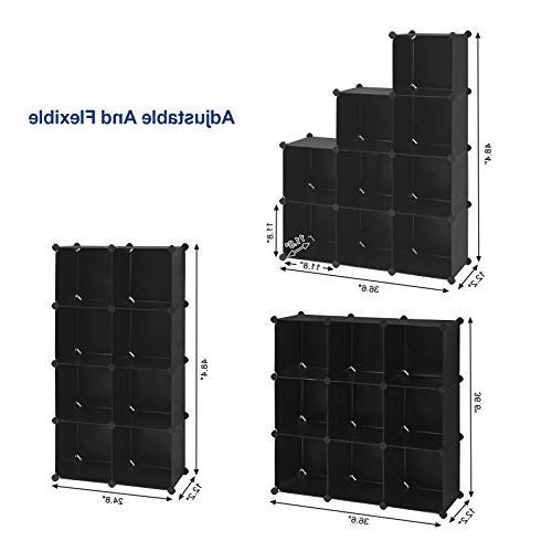 SONGMICS 9-Cube Closet Storage DIY Modular Bookcase, Storage for Bedroom, Living Office, Black