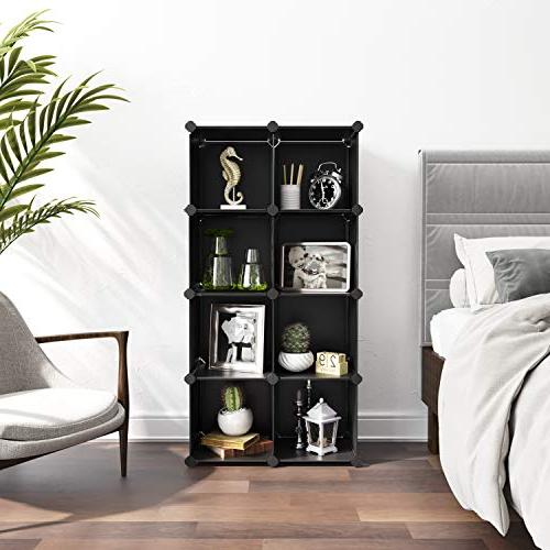 SONGMICS Cube Storage Organizer, 9-Cube Storage Modular Bookcase, Storage Shelving for Bedroom, Room, Office, Rubber Black