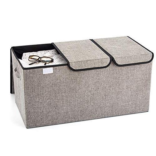 EZOWare Linen Fabric Foldable Bin Box Light Gray Office, Nursery, Living Room