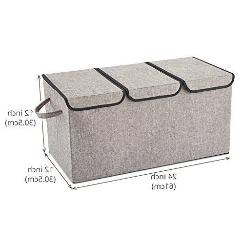 EZOWare Large Fabric Storage Bin Lid Handles Light Office, Nursery, Bedroom, Living Room