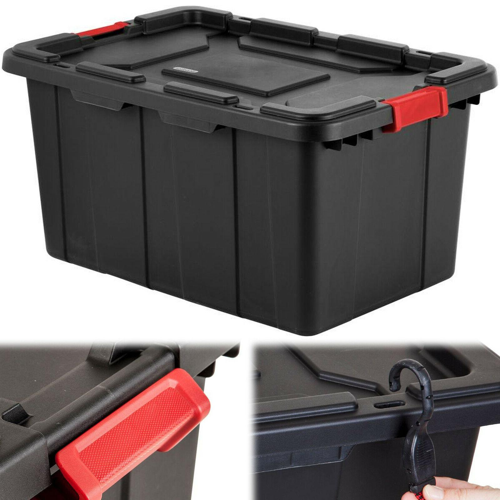 STORAGE TOTE BOX 27 Gal Plastic Container Latch Lid Organize