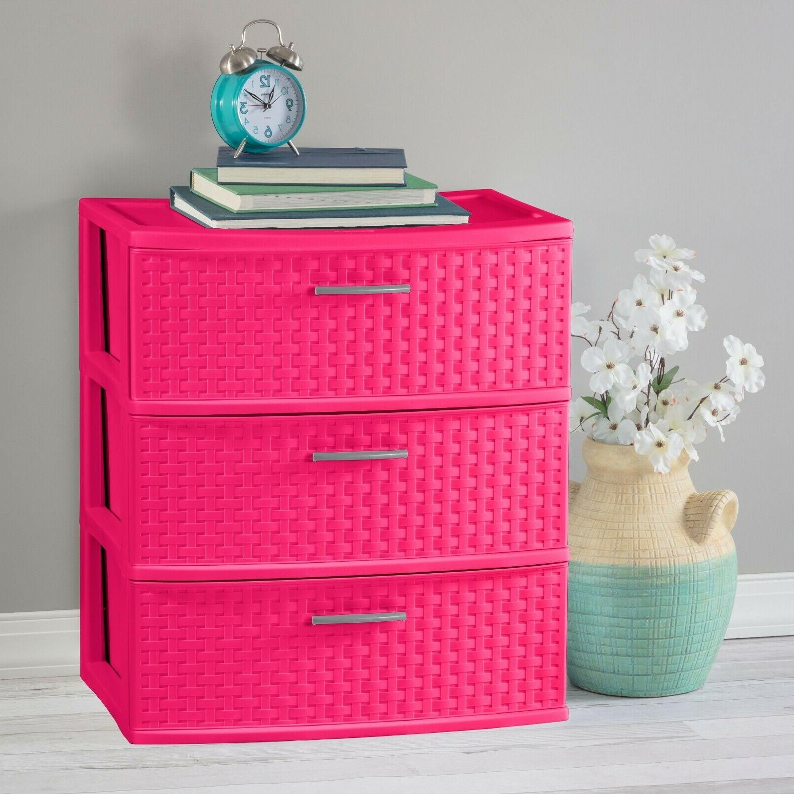 Storage Plastic Cabinet Clothes Box Pink Bedroom
