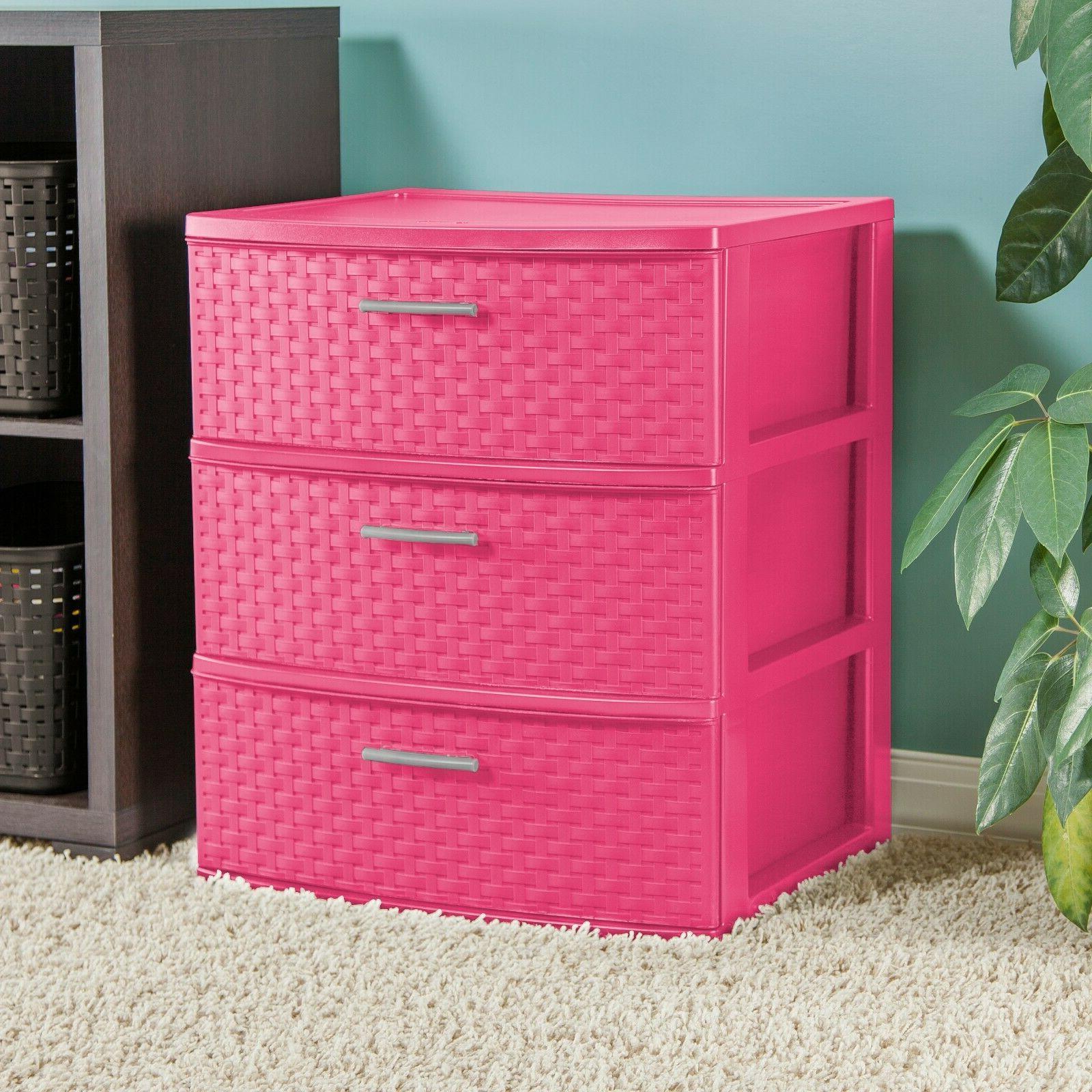 Storage Drawer Plastic Cabinet Organizer Box Pink