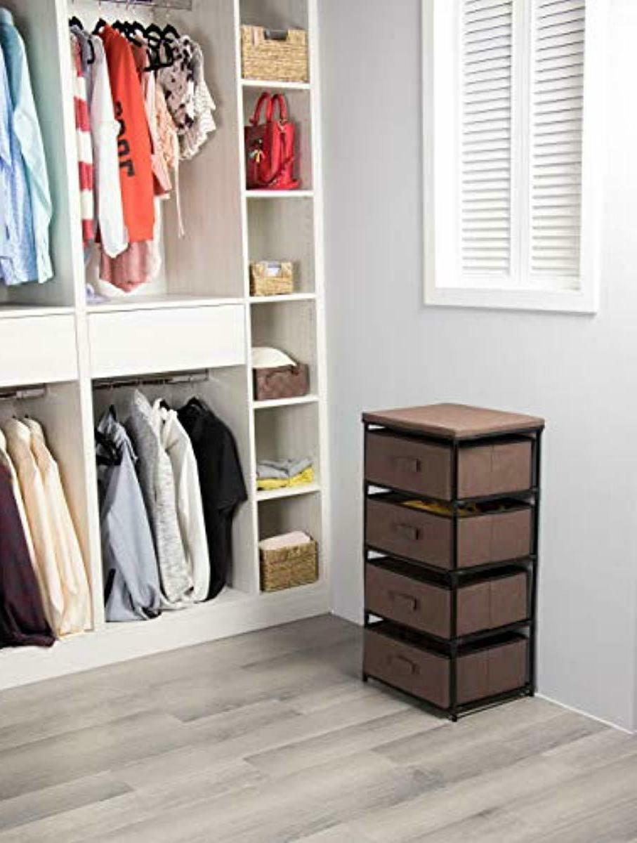 Storage 4 Bin Clothes Box Bedroom Dark New
