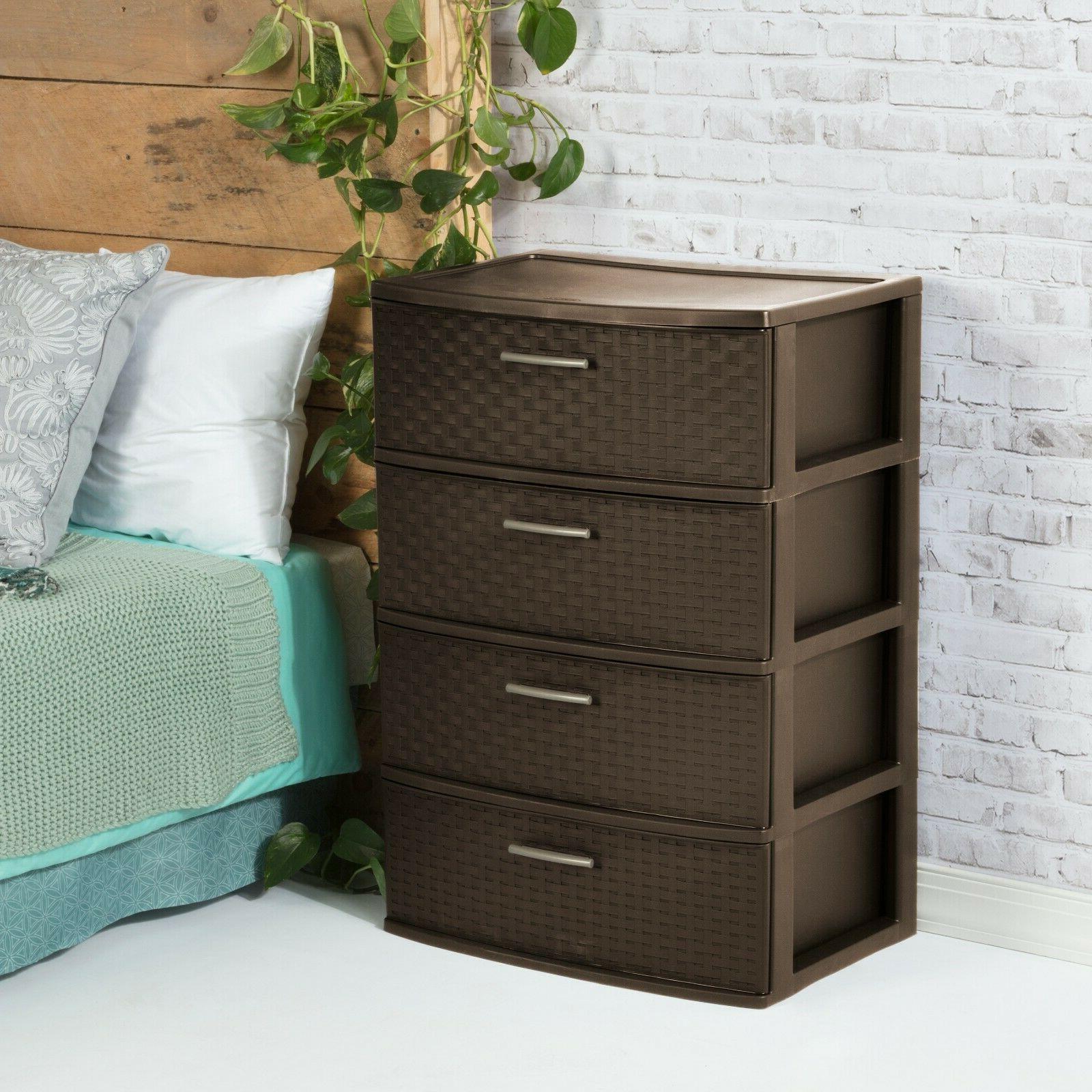 Plastic Cabinet Clothes Box Espresso Bedroom