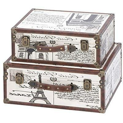 Storage Trunks Deco 79 Wood Leather Box, 17 By 15-Inch, Set