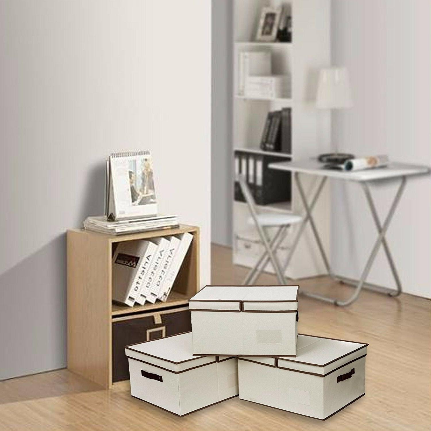 StorageWorks Polyester Canvas Storage Box with Lid, Foldable