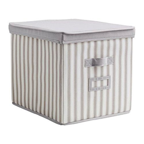 Ikea Svira Box With Lid Gray White Stripe