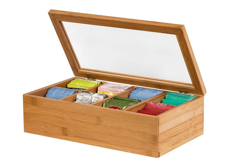Tea Storage Box, Bamboo Storage Box Tea Sugar Bag Organizer,