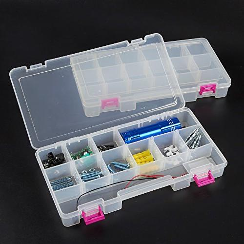 Juvale Tool - Organizer Box 4 13-Compartment Slideout - Tackle, Accessories, Nuts and Bolts, x 10.2 x 6.2 Inches