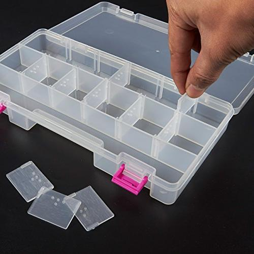 Juvale Box Organizer Box 4 Slideout Containers - Perfect for Storing Tackle, Accessories, and Bolts, Pink, 10.5 x 10.2 Inches