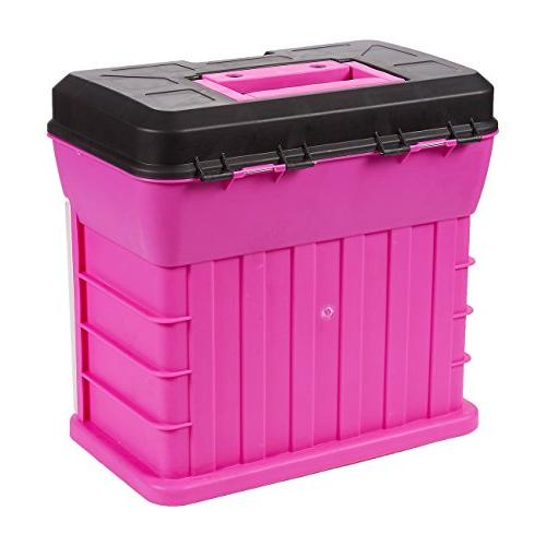 Juvale - Organizer Includes 4 13-Compartment Slideout - Perfect Tackle, Accessories, and Pink, 10.5 x x Inches