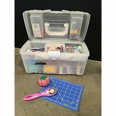 """Transparent 17 Twin Top Supply Storage Box, Clear Arts, Crafts """""""