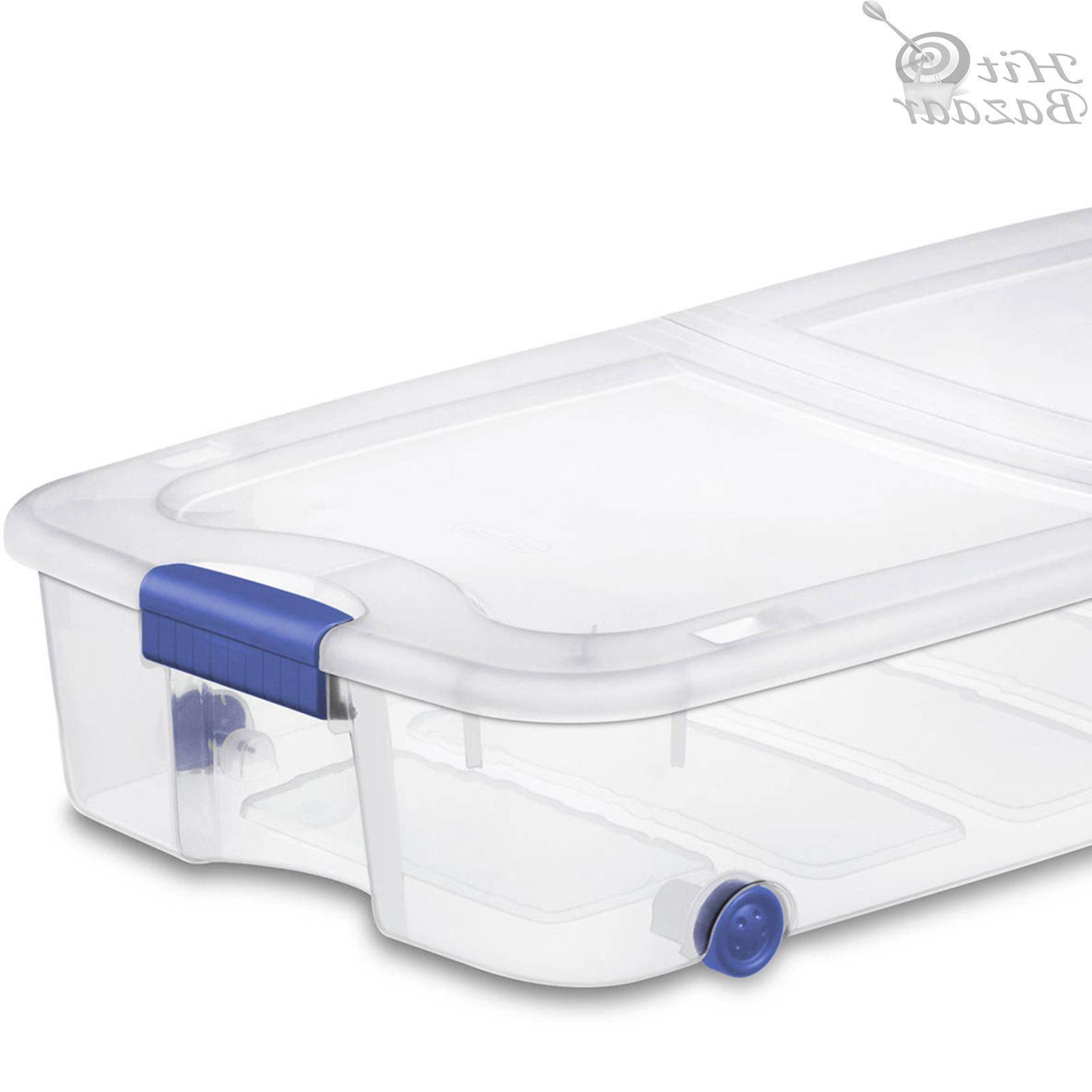 UNDER BED Containers Tubs Latching 66 Qt