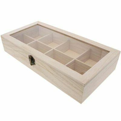Unfinished Wood Tea Storage Organizer Compartments, x x