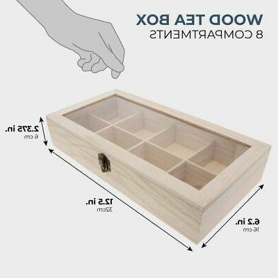 """Unfinished Wood Box Storage Organizer with Compartments, 12.5 x 2"""""""
