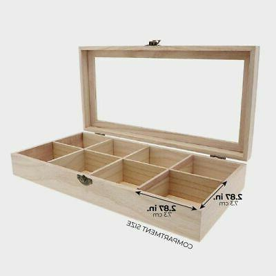 """Unfinished Wood Tea Storage with 8 Compartments, 12.5 x 6 x 2"""""""