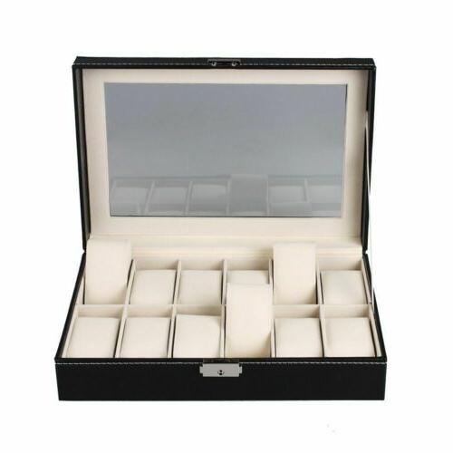 Watch Box Leather Case Organizer Glass Storage