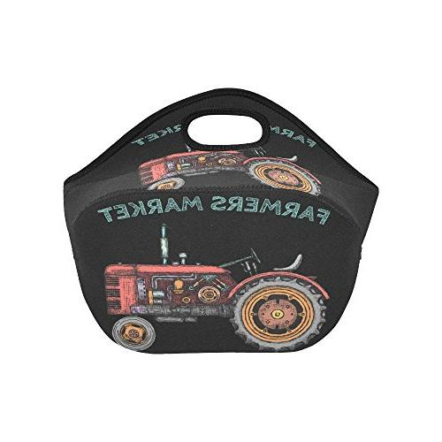 """InterestPrint Tractor Lunch 11.93"""" 6.69"""", Car Locally Grown Portable Lunchbox for Men Adult Kids"""