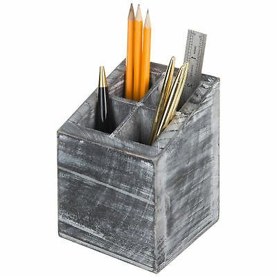 MyGift Vintage Gray Wood 4 Slot Pen & Pencil Holder
