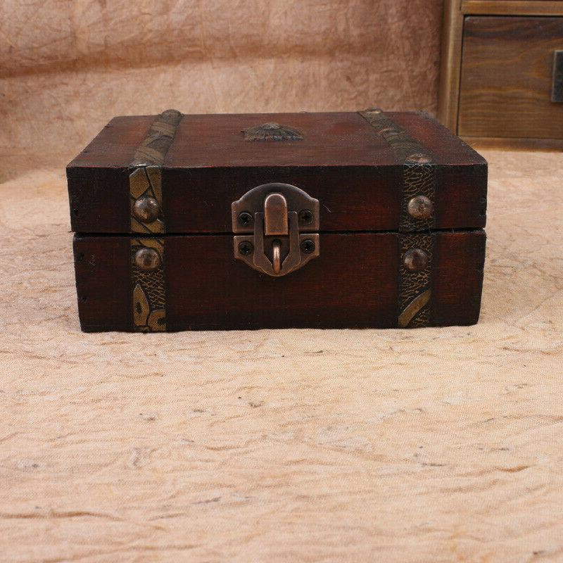 Handmade Vintage Wooden Case Decor Trinket Jewelry