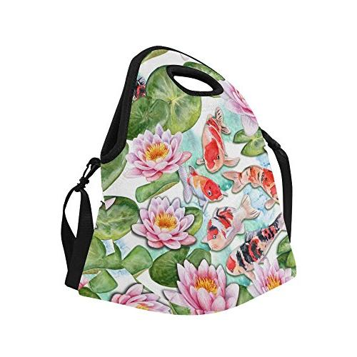 "InterestPrint Watercolor Craps Lotuses Large Insulated Bag Cooler 15.04"" 14.21"" x Flowers Fishes Portable Lunchbox Handbag with"