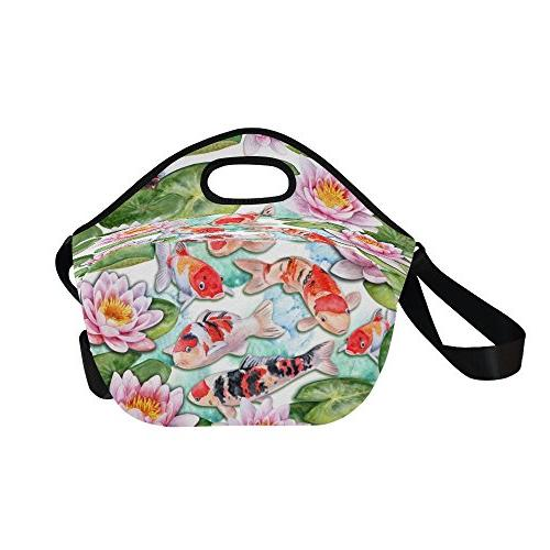 "InterestPrint Watercolor Koi Craps Lotuses Large Insulated Neoprene Lunch Bag 14.21"" Fishes Japan Portable Handbag Shoulder Strap"