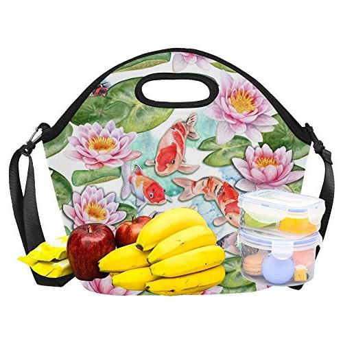 "InterestPrint Craps Insulated Neoprene Tote Bag Cooler 15.04"" 14.21"" x Fishes Handbag with"