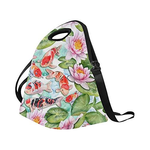 "InterestPrint Craps Insulated Bag Cooler 14.21"" x Fishes Japan Portable Handbag"