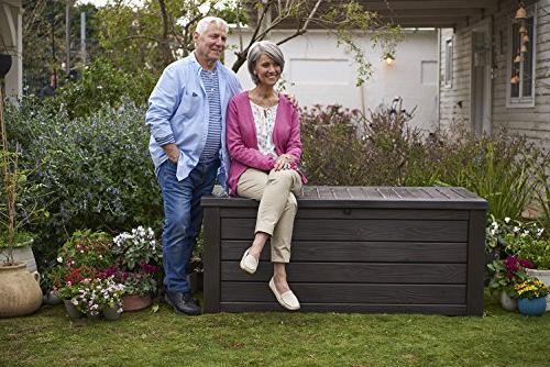 Keter Deck Storage Box Outdoor Patio 150 Gal, Brown