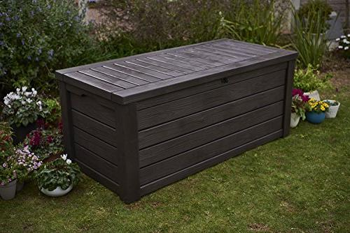 Keter Storage Container Box Outdoor Patio Furniture 150 Gal, Brown