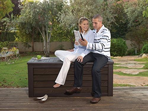 Keter Westwood Storage Container Patio Furniture 150 Gal, Brown