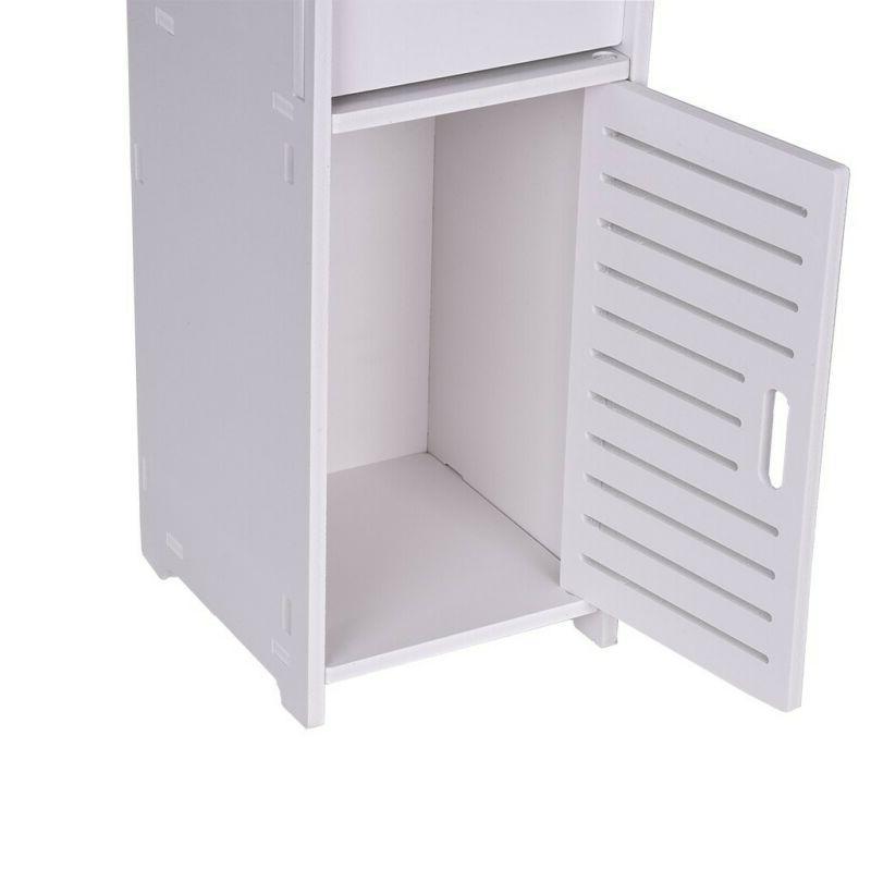 White Cabinet Toilet Paper Storage Holder Shelf