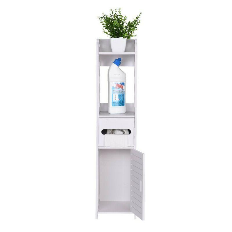 White Bathroom Cabinet Toilet Storage Holder