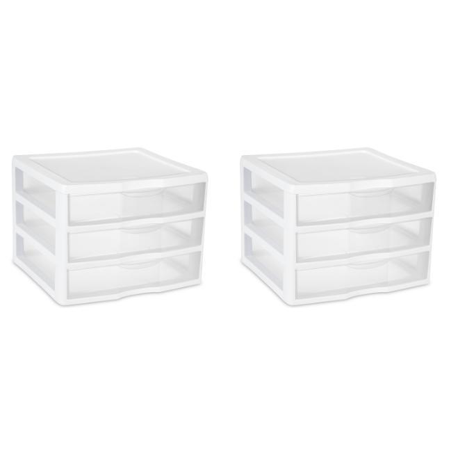 Sterilite Wide 3 Drawer Unit White Multi-purpose Clear Drawe