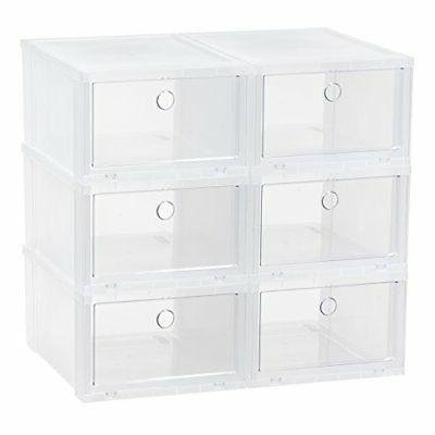 IRIS Wide Clear Pull Down Front Access Shoe Box, 6 Pack